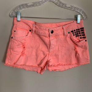 Neon Pink Studded Denim Shorts